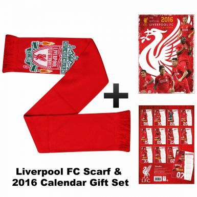Official Liverpool 2016 Calendar & Scarf Gift Set