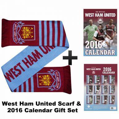 Official West Ham United 2016 Calendar & Scarf Gift Set