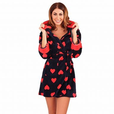 Ladies Hooded Dressing Gown with Hearts