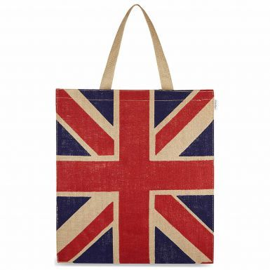 Union Jack Flag Jute Shopping Bag