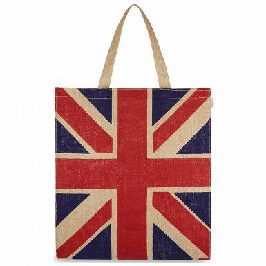 Union Jack Flag Jute Shopping Bag