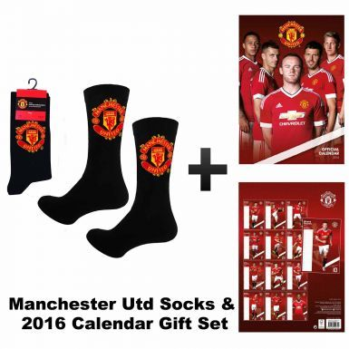 Manchester United 2016 Calendar & Black Socks Gift Set