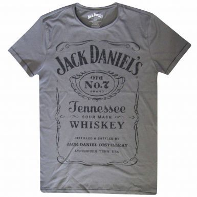 Official Jack Daniel's Whiskey Label T-Shirt Grey