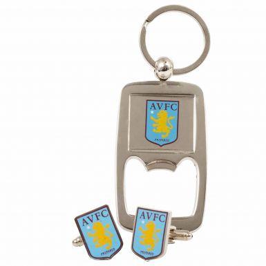 Aston Villa Cufflinks & Keyring Gift Set