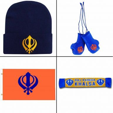 Sikh Khanda Hat, Mini Gloves, Giant Flag & Mini Scarf Gift Set