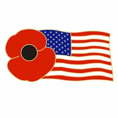 Poppy & USA Flag Pin Badge