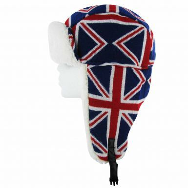 Union Jack Sherpa Fur Trapper Hat