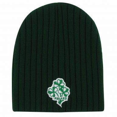 Ireland Shamrock Ribbed Beanie Hat