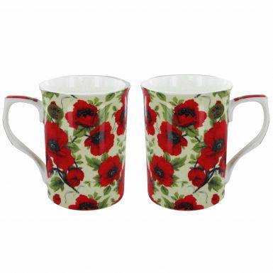 Boxed Red Poppy Twin Mugs Gift Set