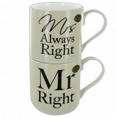 Mr Right and Mrs Always Right Stacking Mug Set