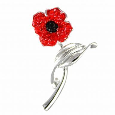 Ladies Crystal Poppy Flower on Stem Brooch