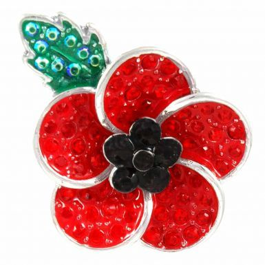 Ladies Crystal Poppy Flower Brooch