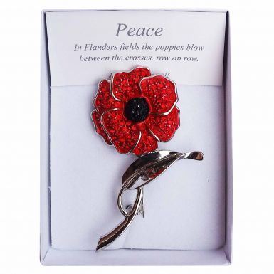 Large Ladies Crystal Poppy Flower on Stem Brooch