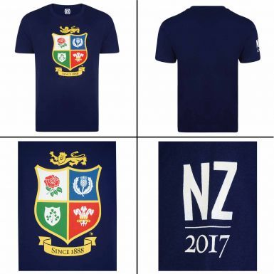 Official British & Irish Lions Rugby Crest New Zealand 2017 Tour T-Shirt
