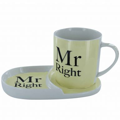 Mr Right Mug & Tray Snack Set
