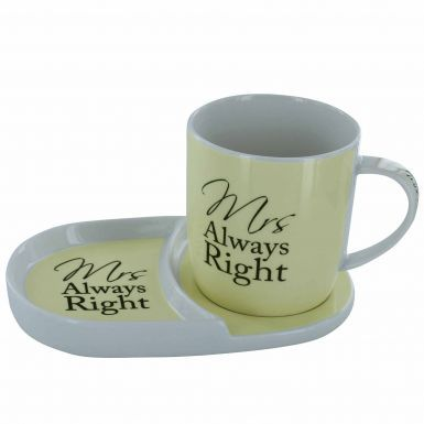 Mrs Always Right Mug & Tray Snack Set