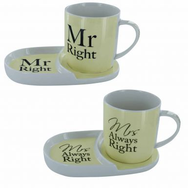 Mr Right and Mrs Always Right Mug Snack Set