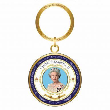 Queen Elizabeth II 90th Birthday Spinning Keyring