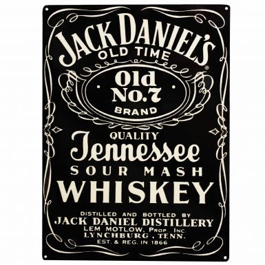 Jack Daniels Whiskey Label Tin Wall Plaque