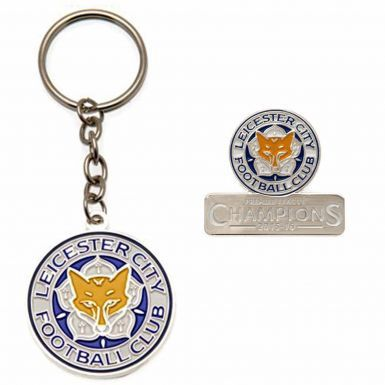Leicester City 2016 Champions Keyring & Badge Set