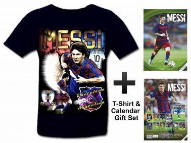Lionel Messi  2017 Soccer Calendar & T-Shirt Gift Set