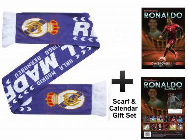 Cristiano Ronaldo 2017 Calendar & Real Madrid Scarf Gift Set