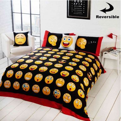 Emoji Icons Reversible Double Comforter Cover Set