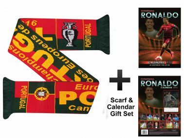 Portugal Champions Scarf & Cristiano Ronaldo 2017 Calendar Gift Set