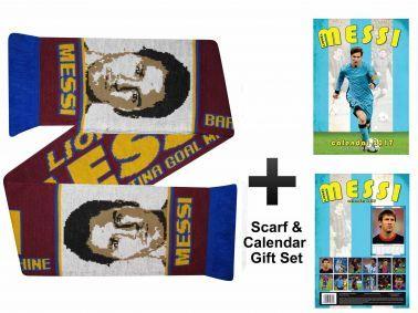 Lionel Messi 2017 Soccer Calendar & Scarf Gift Set