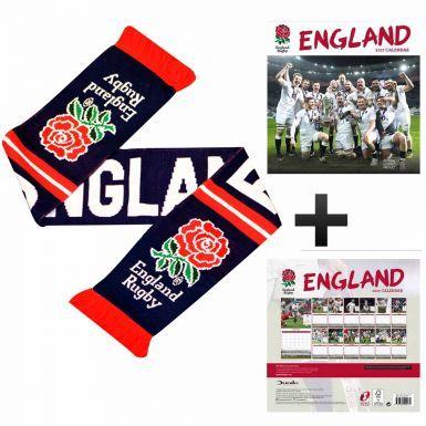 England Rugby RFU 2017 Calendar & Scarf Gift Set