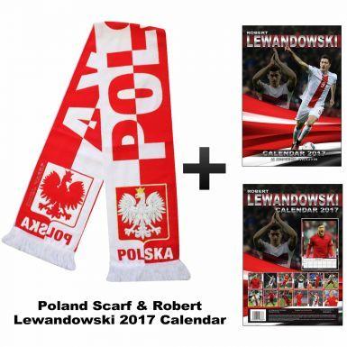 Robert Lewandowski 2017 Calendar & Poland (Polska) Scarf Gift Set