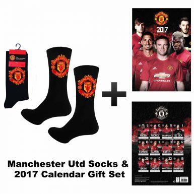 Manchester United 2017 Calendar & Black Socks Gift Set