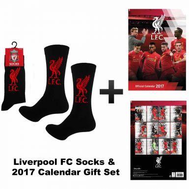 Official Liverpool 2017 Calendar & Socks Gift Set