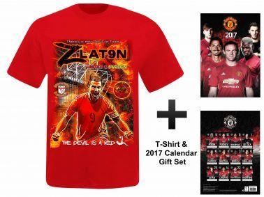 Man Utd 2017 Calendar & Zlatan Ibrahimovic T-Shirt Gift Set