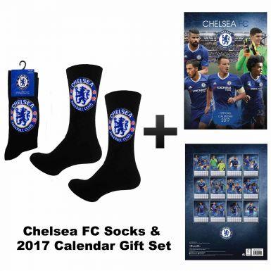 New Chelsea FC 2017 Soccer Calendar & Socks Gift Set