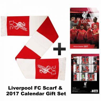 Liverpool FC 2017 Calendar & Bar Scarf Gift Set