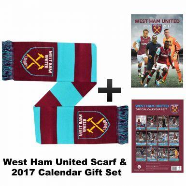 Official West Ham United 2017 Calendar & Scarf Gift Set