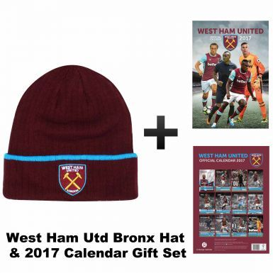 Official West Ham United 2017 Calendar & Bronx Hat Gift Set