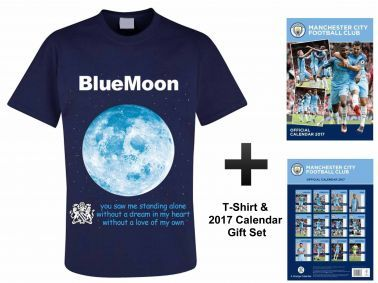 Manchester City 2017 Calendar & Blue Moon T-Shirt Gift Set