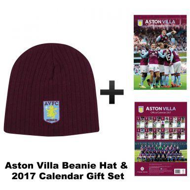 Aston Villa 2017 Football Calendar and Beanie Hat Gift Set