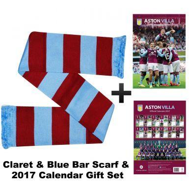 Aston Villa 2017 Calendar & Bar Scarf Gift Set