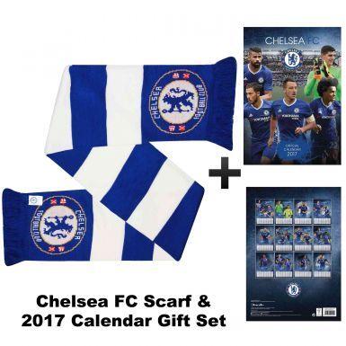 Chelsea FC 2017 Calendar & Bar Scarf Gift Set