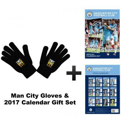 Manchester City 2017 Calendar & Woolly Gloves Gift Set