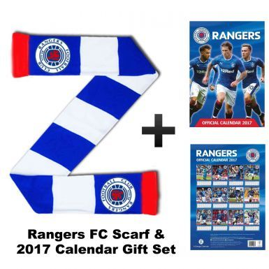 Rangers FC 2017 Football Calendar & Bar Scarf Gift Set