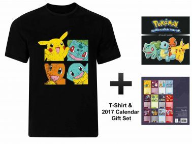 Pokemon 2017 Calendar & Pikachu T-shirt Gift Set