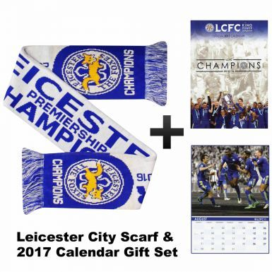 Leicester City 2017 Football Calendar & Champions Scarf Gift Set