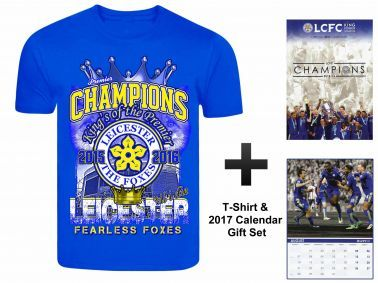 Leicester City 2017 Football Calendar & Champions T-Shirt Gift Set