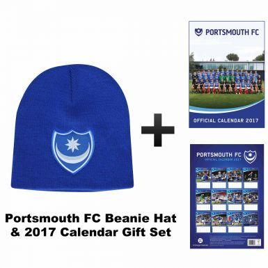 Portsmouth FC 2017 Football Calendar & Beanie Hat Gift Set