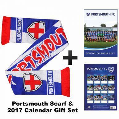 Portsmouth FC 2017 Football Calendar & Scarf Gift Set