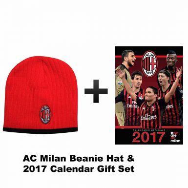 AC Milan 2017 Calendar & Beanie Hat Set